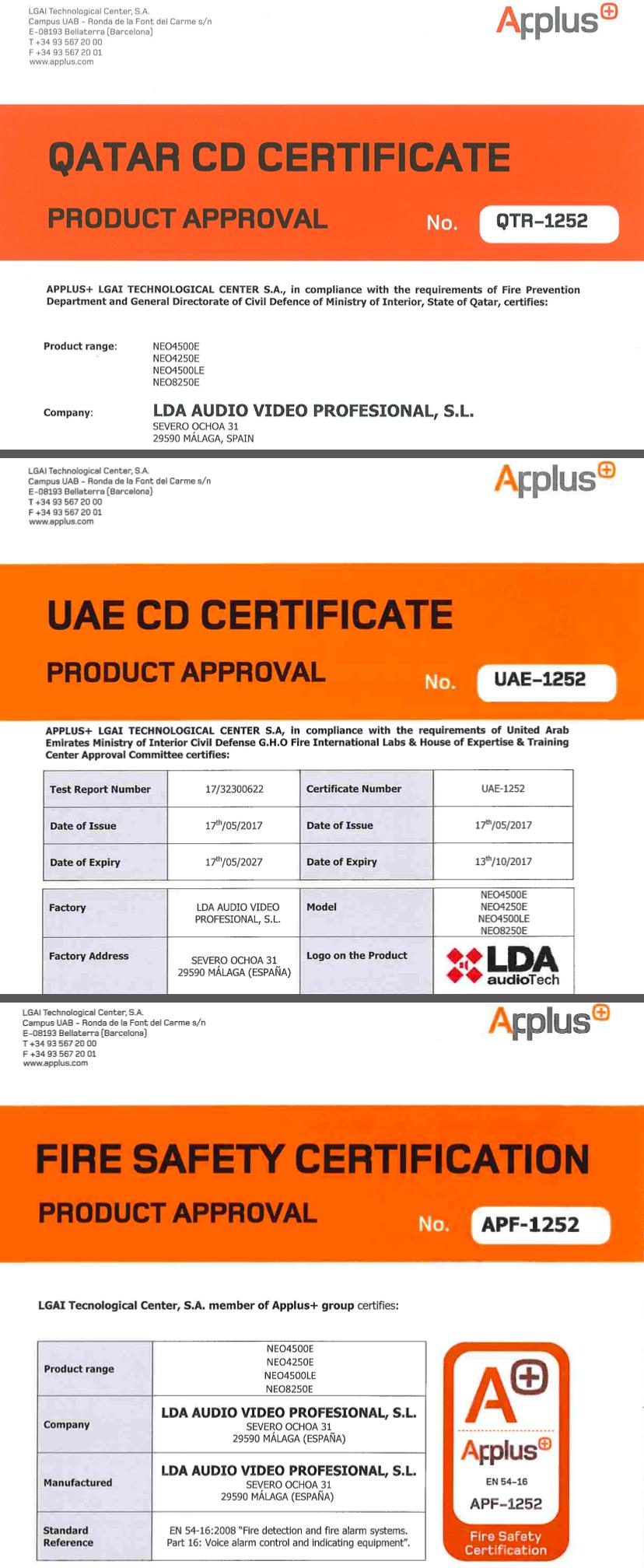 Lda audio tech renews en 54 16 certification for neo system lda lda neo sistema megafona y evacuacin certificado 1betcityfo Gallery