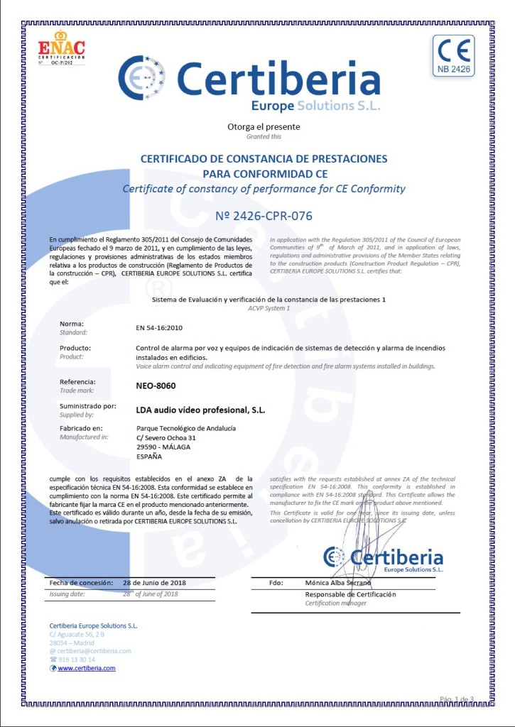 EN 54-16 certificate LDA Audio Tech