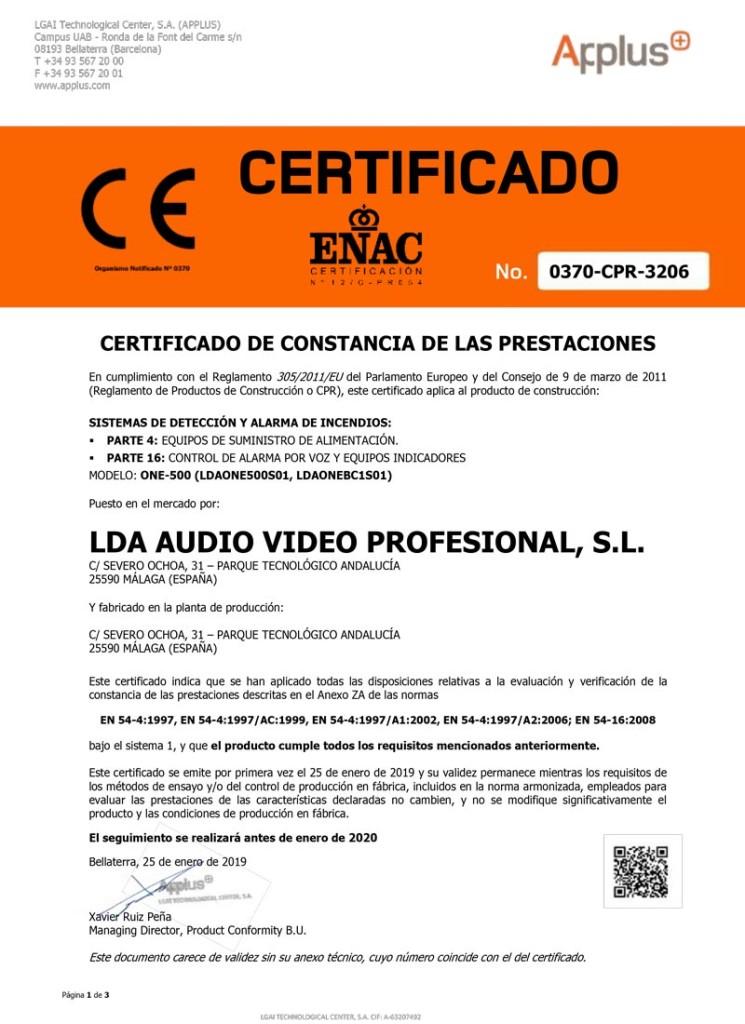 Certificado EN 54-16 EN 54-4 ONE